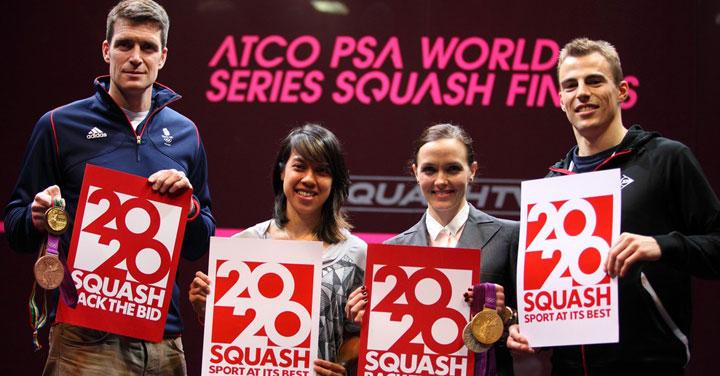 Alle ATCO World Series Finals hanno assistito 3 atleti olimpionici inglesi che hanno espresso il loro supporto all'ingresso dello squash alle Olimpiadi del 2020