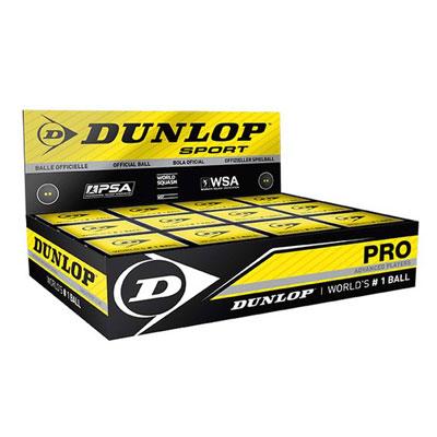 Scatola 12 Palline Dunlop Pro (Doppio Punto Giallo)
