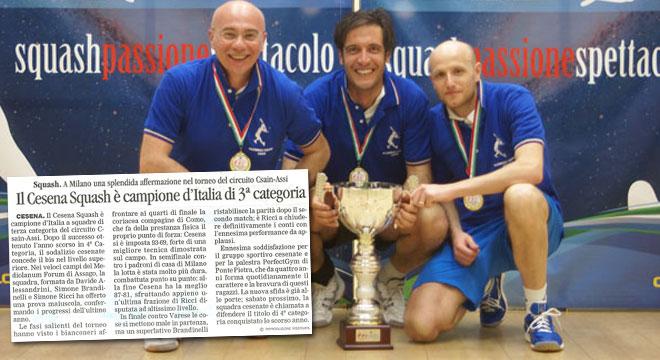 Il CESENA SQUASH è Campione d'Italia di III Categoria!