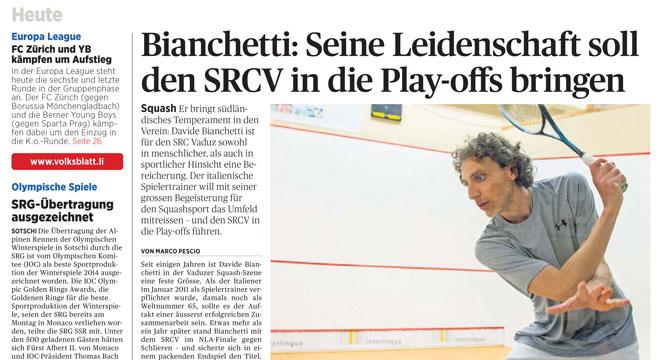 Articolo su Davide Bianchetti, nuovo Coach del Lichtenstein